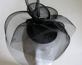 Black  fascinator - mother of the bride cocktail horsehair hat - special occasion ladies hat