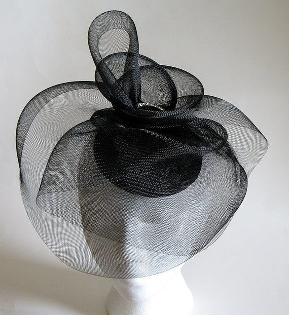 Black Fascinator Mother Of The Bride Cocktail Horsehair Hat