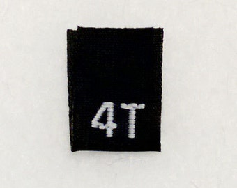 Size 4T (Four Toddler) Black  Woven Clothing Size Tag (Package of 50)