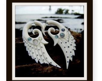 fake gauge earrings, Wing White Bone ,Split Gauge Earrings ,tribal style,hand Craved ,tribal