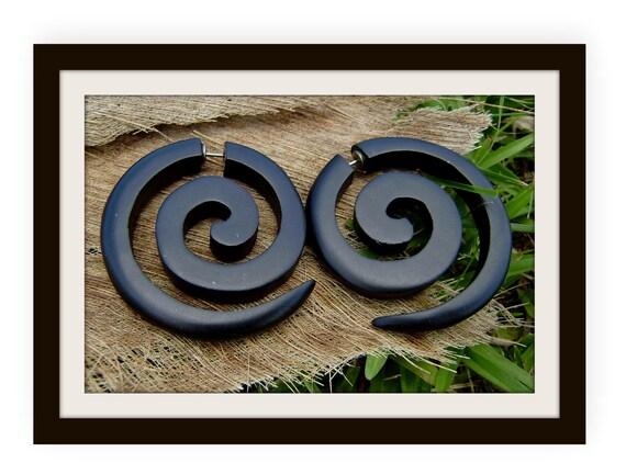 Fake gauge earrings, Black Wood ,Organic  Earrings ,Tribal style, Expander Split XL,organic,naturally