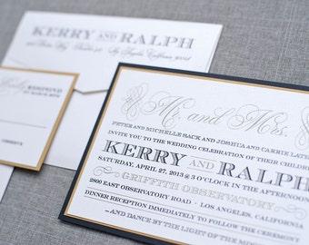Art Deco Gatsby Gold and Black Formal, Elegant Wedding Invitations | Kerry & Ralph