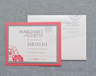 Floral Wedding, Flower Wedding, Floral Invitation, Daisy Wedding Save the Date Card, Custom Invitation - Margaret and Curtis - Custom Colors
