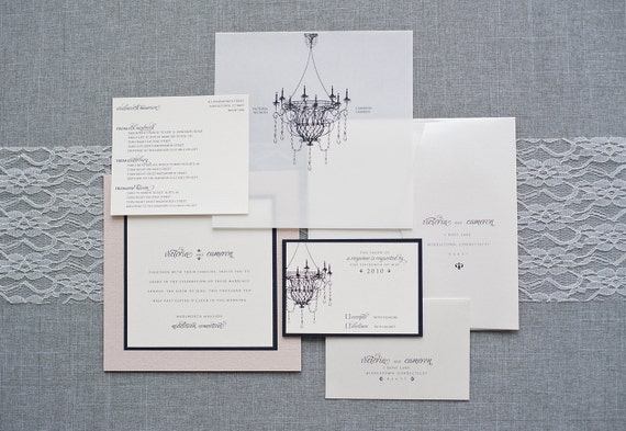 Chandelier Wedding Invitations: Chandelier Wedding Invitations Black Tie Wedding Invitation