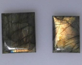 2 Labradorite rectangle cabs, copper color flash, 62.25 carats total                      043-12-117