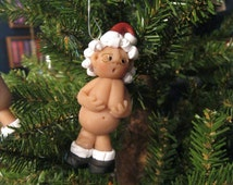 "Mrs. Naked ""Naughty"" Santa Claus holding her boobs- Unique, Jolly and Funny Santa Christmas Ornament"