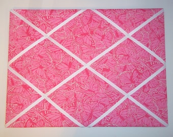 New memo board made with Lilly Pulitzer Pink Smooches fabric