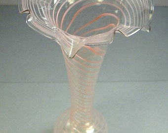 STUDIO Glass VASE Thin Clear with Pink Striations 9 in tall fluted opening app 3 in Diamter