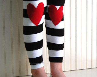 Heart Leggings Girls Leggings Girls Heart Tights Black and White Stripe Leggings Toddler Leggings