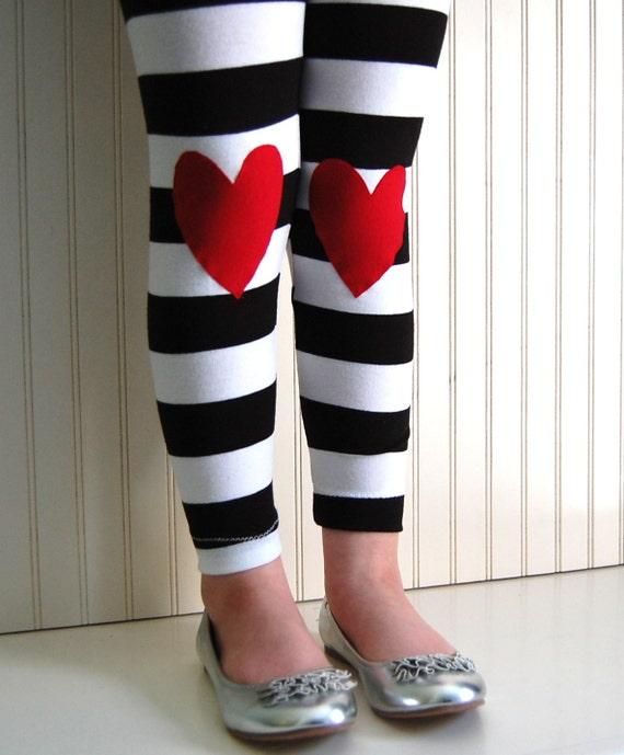 Heart Leggings Girls Leggings Girls Heart Tights Black and White Stripe Leggings Toddler Leggings