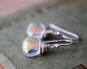 Drop Earrings, Gemstone Earrings, Mystic Quartz, Unicorn Tears, Sterling Silver, Wire Wrapped, Crystal Earrings, Crystal Jewelry, PoleStar