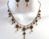 Crystal Rhinestone Flower Necklace Set - Upcycled Swarovski Crystal Flower Links - Bronze Freshwater Pearls