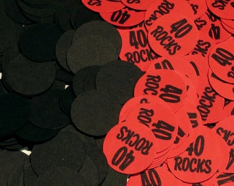 40th Birthday Party Confetti 3/4 Inch Circles - Forty ROCKS,  Black and Red or Your Colors