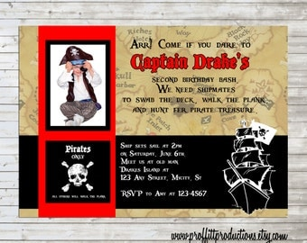 Yar Pirates Custom photo birthday party invitation - digital file