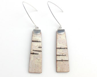 Medium birch bark earrings, Trees