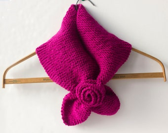 Raspberry Key Hole Scarf. Flower Self Tying Neck Warmer, Stay in Place Scarf, Vegan Cowl, Christmas Gift