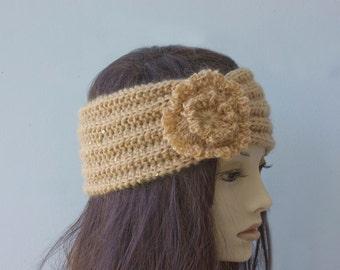 SALE, Flapper Headband, Knit Headband,  Head Wrap, Honey Color Hand Knit Flower Ear Warmers, Ready to Ship