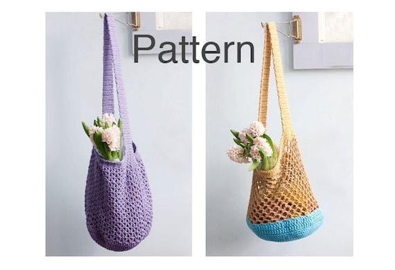 Crochet Market Tote Pattern : Two Market Tote Crochet Patterns, Slouchy Bag Patterns, Instant ...