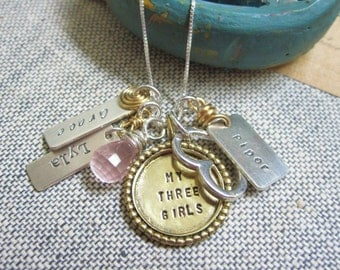 Personalized Mothers Hand Stamped Necklace.... Hand Stamped Jewelry... Love My Girls ... Mothers Jewelry