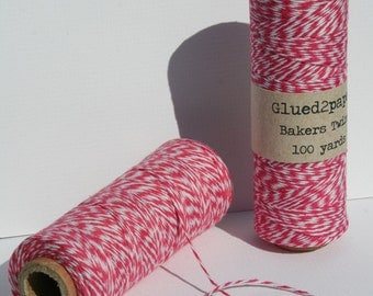 Hot Pink and White Bakers Twine - Hot Bakers Twine - Scrapbooking Twine - Craft Supplies - 100 yards of 4 Ply Twine