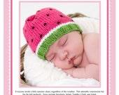 Watermelon Hat Knitting Pattern PDF