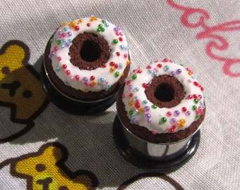 "9/16"" Donut Eyelets - Rainbow on Chocolate - Realistic Miniature Food Plugs"