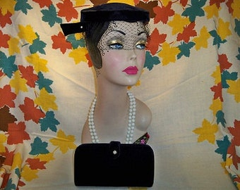 SALE! Vintage 1940s Navy Cocktail Hat and Evening Bag Purse