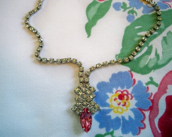 SALE! Vintage 1950s Pink Marquis Rhinestone Necklace Bridal Wedding