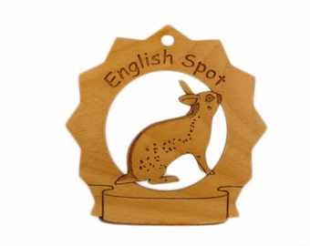English Spot Rabbit Personalized Wood Ornament - Free Shipping