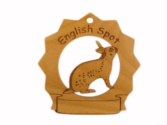English Spot Rabbit Personalized Wood Ornament