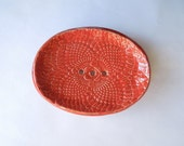 Moving Sale Coral Red Soap Dish with Feet-In Stock Ready to Ship