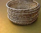 Silver Beaded Memory Wire Bracelet Rustic Silver Wrap Cuff: Mercury