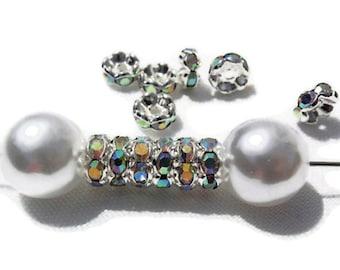 12 Aurora Borealis Rhinestone Spacer Beads, Jewelry making Bead Supply, Graded A, Silver Plated Brass , 8 mm Diameter