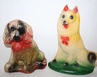 RARE,2  chalkware carnival dogs,1950s Lady from Lady and The Tramp  & Lassie collie,Carnival Chalkware , Midway Prizes,bookends,