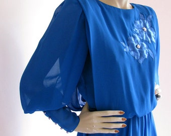 Joan Collins Vintage 1980s Electric Blue Victorian Sleeve Dress