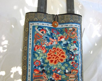Vintage Silk Hand Embroided Tote Bag