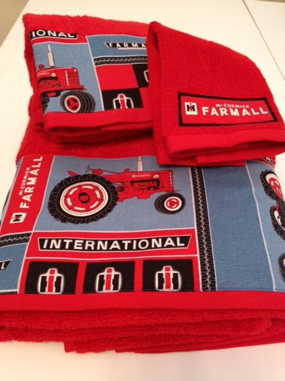 international harvester farmall themed towel set