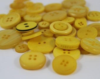 50 Sunshine Yellow Buttons