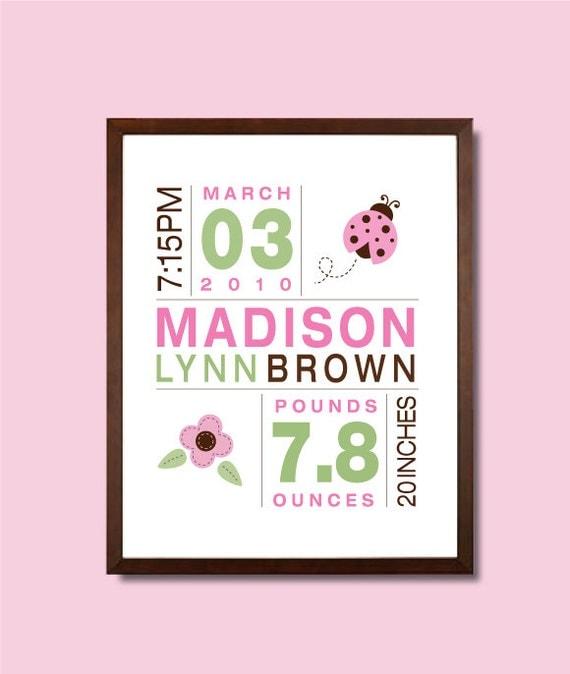 8x10 Birth Print for Girls - Custom Nursery Art