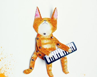 Articulated paper doll - Keyboard cat  -  DIY print set