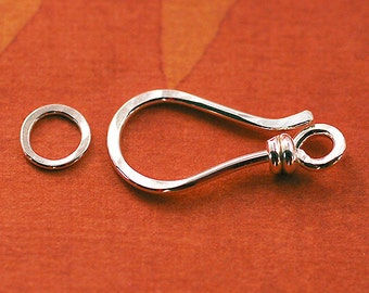 Sterling Silver Hook and Clasp - 18 Gauge Wrapped Handmade