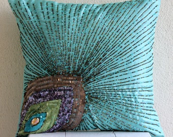 Decorative Pillow Sham Covers Accent Couch Pillow Cases 24x24 Inch Silk Sham Cover Embroidered Peacock Grace Bedroom Home Decor Bedding