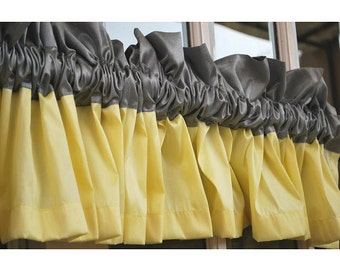 """Yellow And Grey Valance 52""""x12"""" Rod Pocket Lined Curtain Living and Bedroom Decor And Housewares Curtain Panels Window Treatments"""
