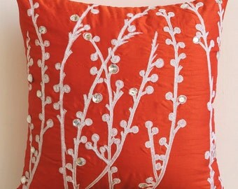 Decorative Throw Pillow Covers Accent Pillow Couch Pillow 20 Inch Silk Pillow Cover Embroidered Coral Orange Willow