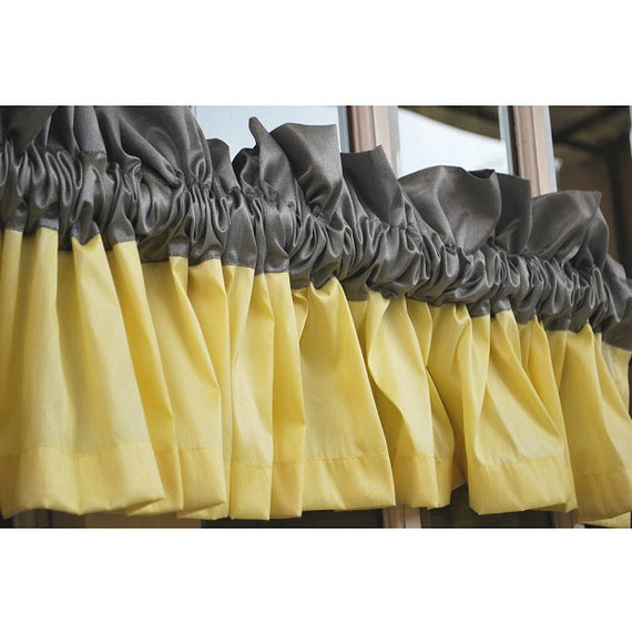 Window Curtains Gray And Yellow: Yellow And Grey Valance 52x12 Rod Pocket Unlined By