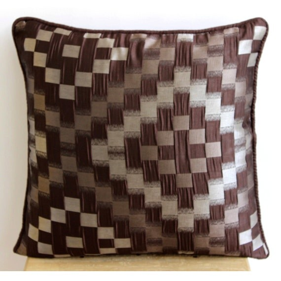 Brown Sofa Pillows: Luxury Brown Throw Pillows Cover 16x16 Jacquard By