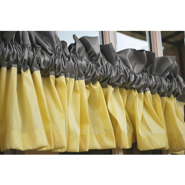 Window Curtains Gray And Yellow: Yellow And Grey Valance 52x12 Rod Pocket Lined