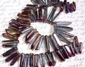 Bordeaux Burgundy Titanium Mystic Blue Quartz Tip Top Crystal Briolette Beads 1/2 Strand