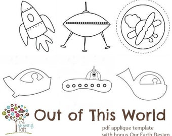 Out Of This World Applique Template Design Pack -Instant Download PDF File