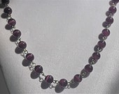Jewelry - Necklace - Deep Purple Cat's Eye Gemstone Beads with a 2 inch extender